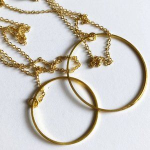 Luxe Couture 14k Gold Circle Lariat Necklace
